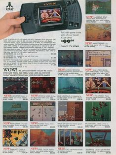 The Sears Catalog – Atari Lynx Vintage Video Games, Classic Video Games, Retro Video Games, Vintage Games, V Games, Arcade Games, Nintendo, 1990s Toys, Playstation
