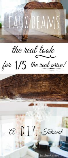 Love wood beams, but not the price tag? LOVE the look of beams but don't have the budget? FAUX BEAMS are the answer! the look for a FRACTION of the cost! We'll show you how to use & install them…POP OVER NOW to the Heathered Nest! Do It Yourself Furniture, Do It Yourself Home, Home Renovation, Home Remodeling, Kitchen Remodeling, My Living Room, Living Room Decor, Kitchen Living, Barn Living