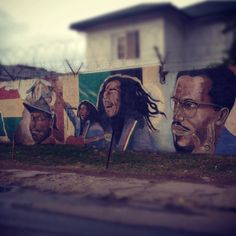 Wall Of The Greats, Kingston Jamaica - where all the great Jamaica Legends are painted.