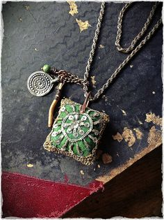 Gypsy pendant necklace with vintage embroidered textile by quisnam, $50.00