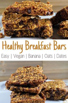 Oatmeal Data Banana Bars - A Vegan sweet treat that is also healthy. Really easy to make, and an amazing vegan snack or breakfast! Healthy Vegetarian Breakfast, Healthy Vegan Desserts, Vegan Breakfast Recipes, Brunch Recipes, Breakfast Ideas, Vegan Keto, Brunch Ideas, Vegan Food, Healthy Eats