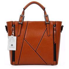 Avber Womens Pure Color Vintage Style Stitching Handbag Shoulder Bag ($40) via Polyvore