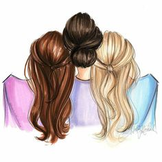 Pin by ishitavallabh on art in 2019 dibujos para amigas, dibujos amigas, 3 Best Friend Pictures, Bff Pictures, Pictures To Paint, Mother Daughter Art, Father Daughter Photos, Tumblr Bff, Hair Illustration, Three Best Friends, Girly M