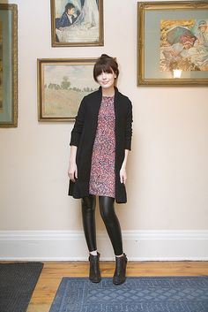 black cardigan, floral dress, black leggings