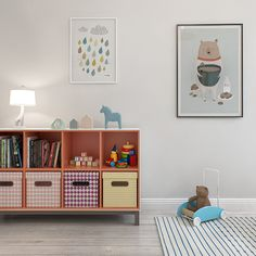 Stylish storage for a kid's room. For similar stripey rugs see http://www.designedforkids.co.uk/collections/rugs