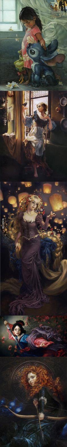 Alcuni protagonisti Disney dipinti a olio