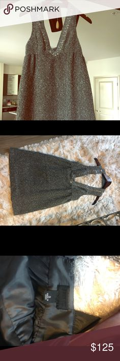 ANNA SUI Twill Dress AUTHENTIC ANNA SUI tweed wool dress with pockets!:) gorgeous back design. Beautiful beaded v-neck. Anna Sui Dresses Mini