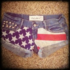 Low rise American Flag shorts with studs. $39.00, via Etsy.