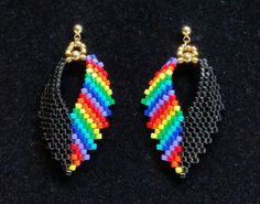 Russian Leaf Earrings in a Black and Rainbow by BeadAndBowtique on Etsy. Just $15.00!