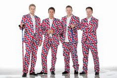 Norwegian curling team uniform.  Red, white, and blue zig-zags.