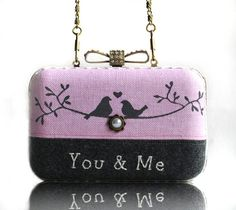 Love Bird Wool Embroidered Box Clutch Hand Painted Linen Messenger Chain Bag Pink Grey Wedding Gift Minaudiere. $29.50, via Etsy.