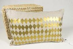 Kissen, 55cm x 35cm, creme, geometrisches Muster von _ani_ auf DaWanda.com