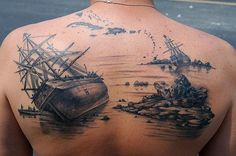 #Nautical-themed back #tattoo in black-and-white