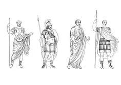 Maak kennis met de kledingstijl van de Romeinen. Deze kleurplaat kan vergeleken worden met die van de vrouwen. De leerlingen schrijven de verschillen op en kleuren in de passende kleur.