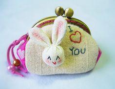 Bunny coin purse 85 cm frame coin purse bunny metal by DooDesign, $18.90