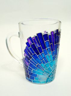 This is a bright and cute beautiful glass coffee with hand painted sun, it can be personalized with your name or custom text. It can make a unique gift for any occasion or to be a great decoration…More Blue Mosaic, Mosaic Glass, Stained Glass, Glass Art, Bottle Painting, Bottle Art, Bottle Crafts, Glass Coffee Mugs, Coffee Art
