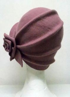 Cloché hat 20s hat 20s style hat Felt hat Wool by LidiaArtThings