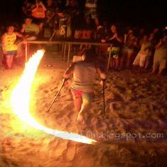 Dude attempting the fire skipping rope ... on crutches! ... from 'The Fire Skipping Rope ... On Crutches!'