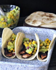 Beer Marinated Portobello Tacos with Avocado Corn Salsa - a super flavorful recipe that is easy to whip up for Taco Tuesday or any day! Vegan Tacos, Vegan Burgers, Beef Burgers, Vegan Mexican Recipes, Veggie Recipes, Hamburger Recipes, Veggie Food, Beer Marinade, Avocado Corn Salsa