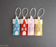 Holiday Felt Ornaments , Felt Home Decor Colorful houses , yellow , blue, pink red set of 4
