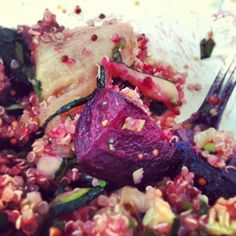 Warm beetroot, zucchini & quinoa salad with coriander & mustard dressing : naturally gluten free, high in protein & vegan