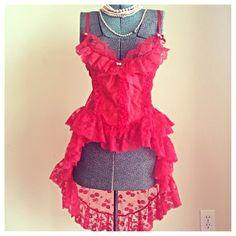 Sexy red high low teddie nightie vintage lingerie by mellafina.etsy
