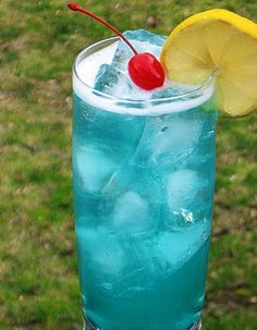 AMF a.k.a. Adios Mother F-er (.5 oz. Vodka .5 oz. Rum .5 oz. Gin .5 oz. Tequila .5 oz. Blue Curacao 2 oz. Sweet & Sour Mix 2 oz. 7-Up)
