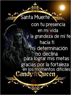 Las palabras son reales y sinceras Santa Muerte Prayer, Life Hacks Websites, Angel Of Death, Prayers, Spirituality, Positivity, Feelings, Candy, Saints