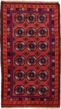 For layering in living room  Red 3' 7 x 6' 4 Balouch Rug | Persian Rugs | eSaleRugs