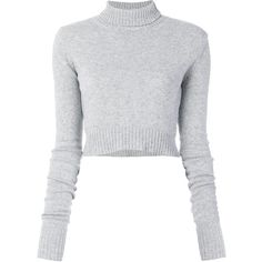 Faith Connexion cropped turtleneck jumper (475 CAD) ❤ liked on Polyvore featuring tops, sweaters, grey, crop top, cropped turtleneck sweater, gray sweater, gray crop top and grey jumper