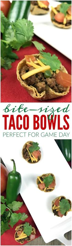 Bite Sized Taco Bowls Perfect for Game Day! Mini Taco Bowls are a fun and yummy appetizer or meal recipe!