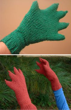 Free Knitting Pattern for Innsmouth Webbed Claw Gloves - These gloves are perfect for playing any clawed monster like Godzilla, Draco, and the Creature from the Black Lagoon. Designed by Anne-Marie Dunbar. Pictured project by G-knits