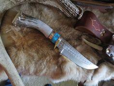 "Hunting Knife Ken Richardson Custom FANCY CROWN HORN Turquoise 5 1/2"" CLIP BLADE #KENRICHARDSON #FixedBlade"