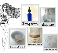 DIY Sea Salt spray for beachy waves! What you'll need:  3 tbsp Hair Gel  3 tsp Sea Salt  1/2 tsp Coconut Oil  1 cup Warm Water  Spray Bottle    Steps:   1. Pour all of the ingredients into a spray bottle.   2. Shake, shake, shake the spray bottle until ingredients are mixed.