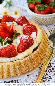 Crostata morbida alle fragole mascarpone e cocco vickyart arte in cucina