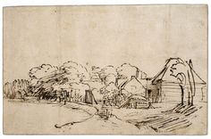 Rembrandt, A sketch of the bend in the Amstel near Kostverloren at The British Museum Images Landscape Sketch, Landscape Drawings, Line Drawing, Drawing Sketches, Rembrandt Drawings, Dancing Drawings, Religious Images, Anatomy Drawing, Urban Sketching