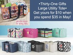 Thirty-One Gifts – May Special! #ThirtyOneGifts #ThirtyOne #Monogramming #Organization #May2017Special #LargeUtilityTote #StandTallInsert