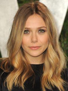 ElizabethOlsen has soft waves and healthy, natural-looking makeup.