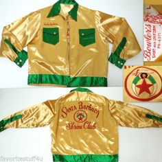 Vintage 50's BOWLERS SHIRT  UNIFORM Los Angeles Jacket/Shirt. Shrine Club Santa Barbara. Zip Front. Embroidered Shriners Logo on back. Large RARE!   SOLD