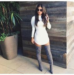 All white long sleeve mini dress with grey over-the-knee boots! Love!
