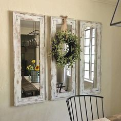 Mirrors placed perpendicular to Windows brighten the space, farmhouse style, farmhouse decorating, entryway ideas, living room, family room, vintage whitewash