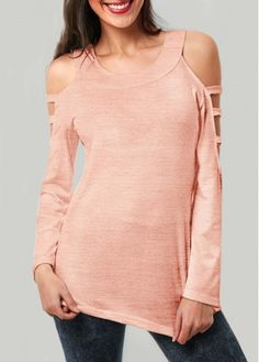 24.19$  Watch here - http://di5lm.justgood.pw/go.php?t=173039 - Long Sleeve Round Neck Pink T Shirt