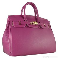 CARBOTTI BIRKIN INSPIRED FUCHSIA 35CM LEATHER HANDBAG WITH LOCK AND KEY #CARBOTTI #Satchel