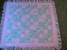 Baby girl quilt pink glitter grey floral and pink floral hand quilted flannel backed