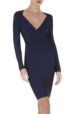 Herve Leger Long Sleeves Florencia V-neck Navy Bandage Dress [Herve Leger Long Sleeves Florencia Navy] - $167.00 :