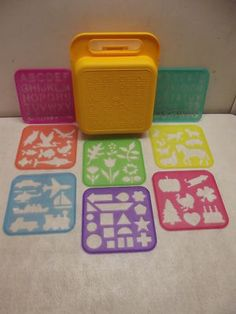 Tupperware stencils vintage 1987.  I had these when I was a little kid!!!