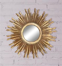 "35-1/2"" Round Sunburst Mirror, Mirror Size 11"" Round, Gold ** Please note, additional shipping charges will apply; please contact us for a quote **"