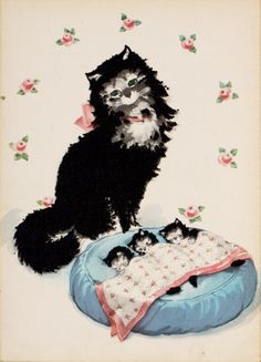 """Color illustration by Florence Sarah Winship of the fuzzy cat Miss Sniff standing over three newborn kittens, from the children's book """"Miss Sniff the fuzzy cat"""" written by Jane Curry (Whitman Publishing Co., c. 1945)"""