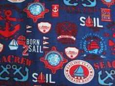Baumwolle Stoff Anker Schiff blau ♥♥