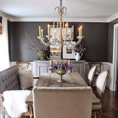 """""""Our dining room with Kendall Charcoal walls is up on the blog. Tap for sources or visit the blog for a detailed source list."""" Photo taken by @dearlillie on Instagram, pinned via the InstaPin iOS App! http://www.instapinapp.com (01/25/2015)"""